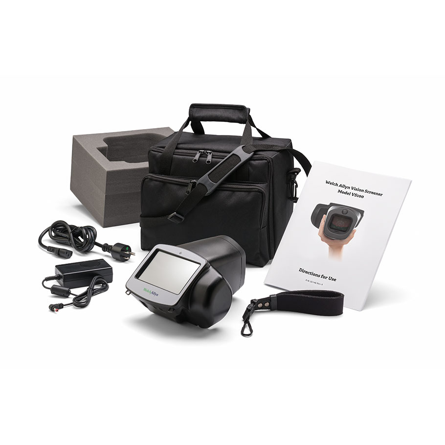 VS100S-B:  Welch Allyn Spot Vision Screener VS100 - Vision Screener, power supply & cord, wrist strap and carry case